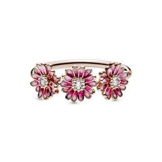 Prstan z nizom treh rožnatih marjetic