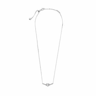Ogrlica s srčastim obeskom in ribjo kostjo za srečo