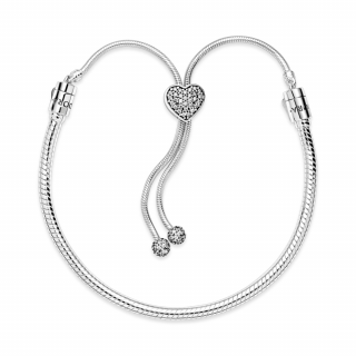 Zapestnica Pandora Moments s srčkom v stilu pavé in drsno zaponko