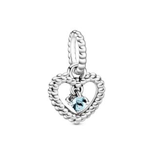 Viseči obesek Srce s perlicami v svetlo modri barvi