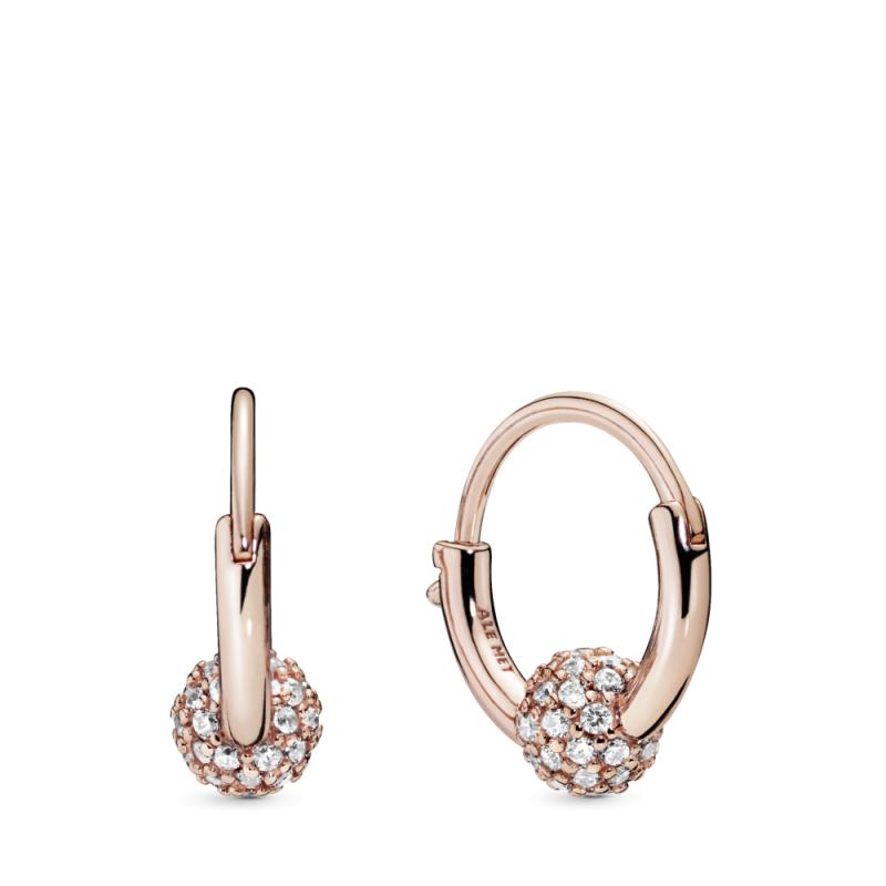 Obročasti uhani s perlico v stilu pavé