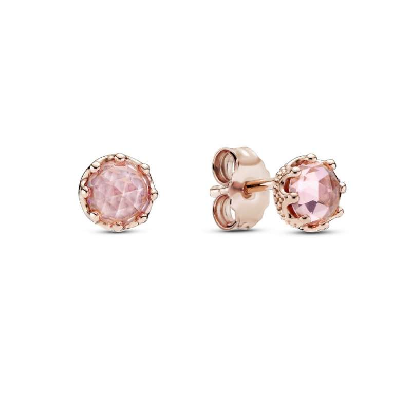 Rožnati lesketajoči se uhani v obliki krone