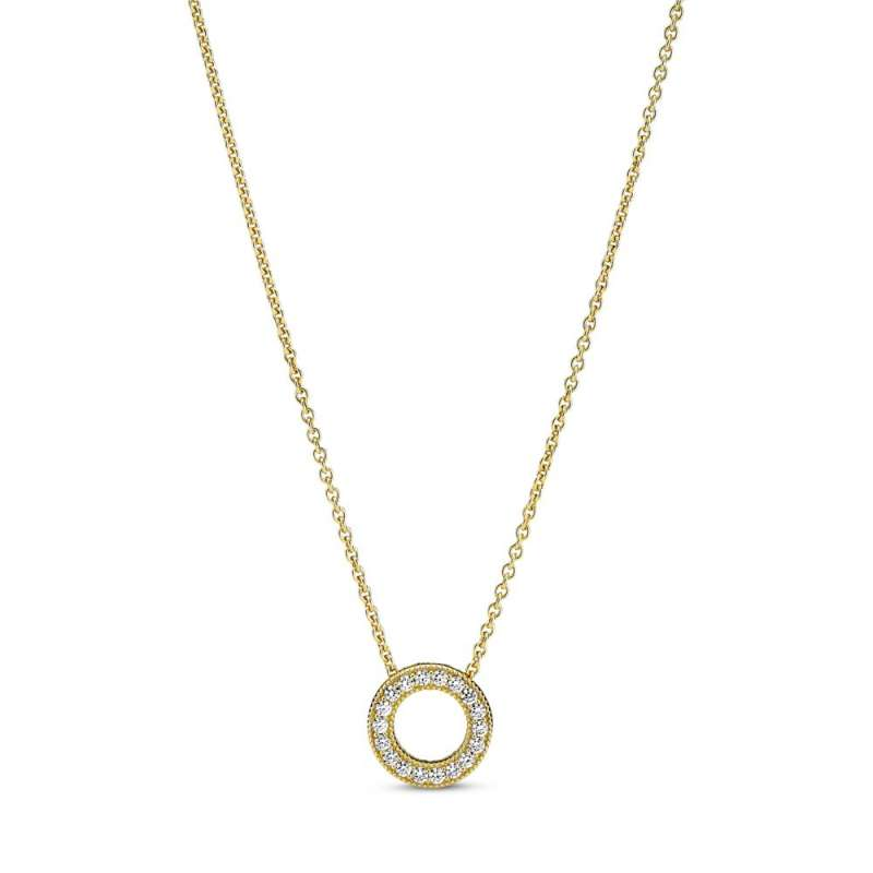 Ogrlica z logotipom Pandora in obeskom, okrašenim na način Pavé