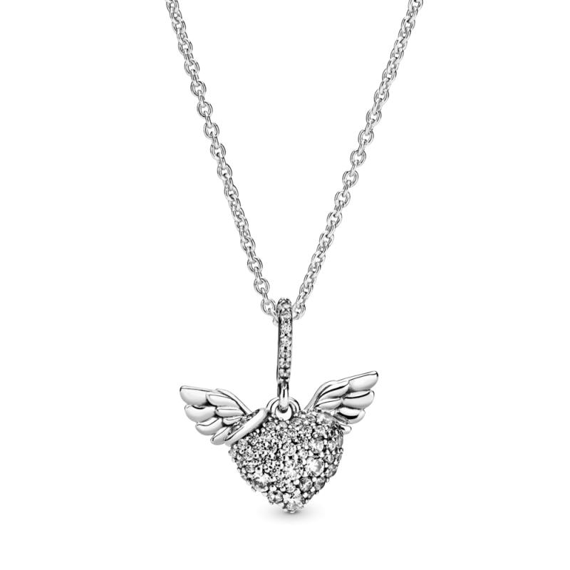 Ogrlica s srčki v stilu pavé in angelskimi krili