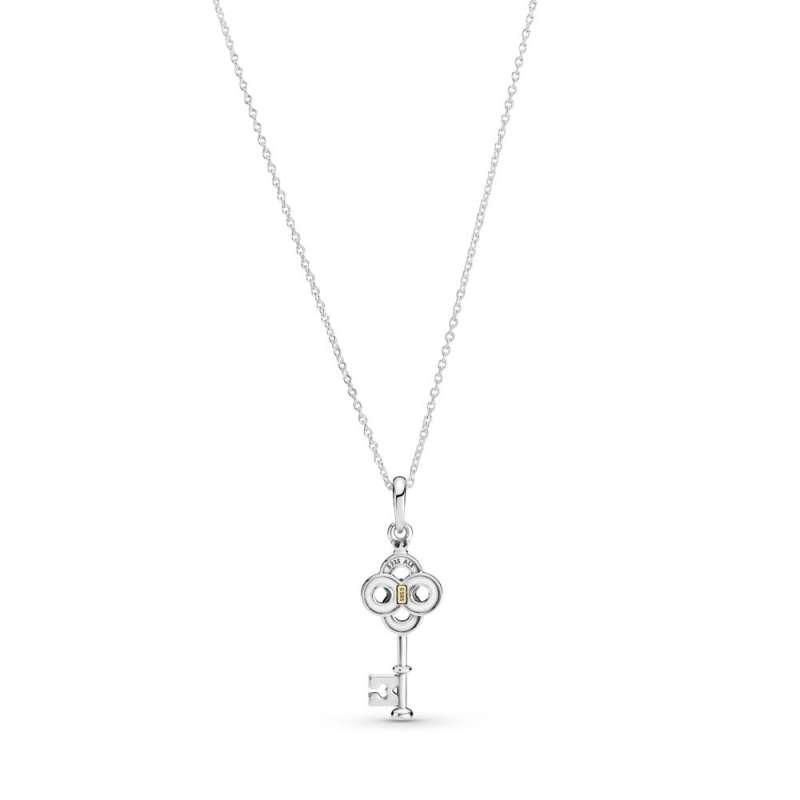 Ogrlica z dvobarvnim ključem in ključavnico