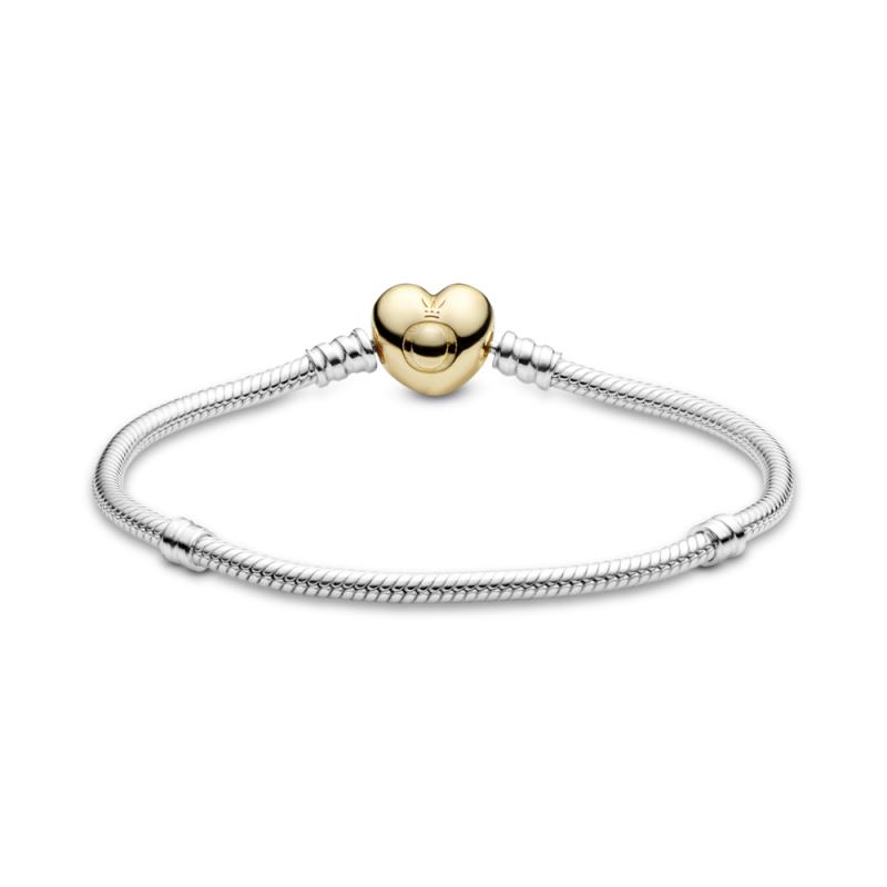 Moments zapestnica Pandora Shine, sponko v obliki srca z logom