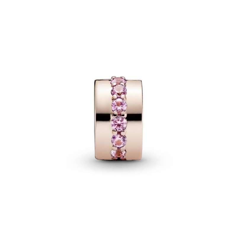 Sponka z linijo rožnatih kubičnih cirkonov