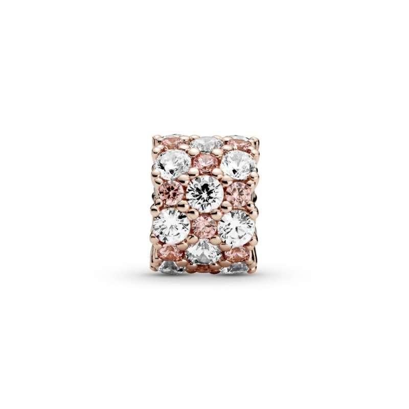 Obesek z rožnatimi in prozornimi kristalčki