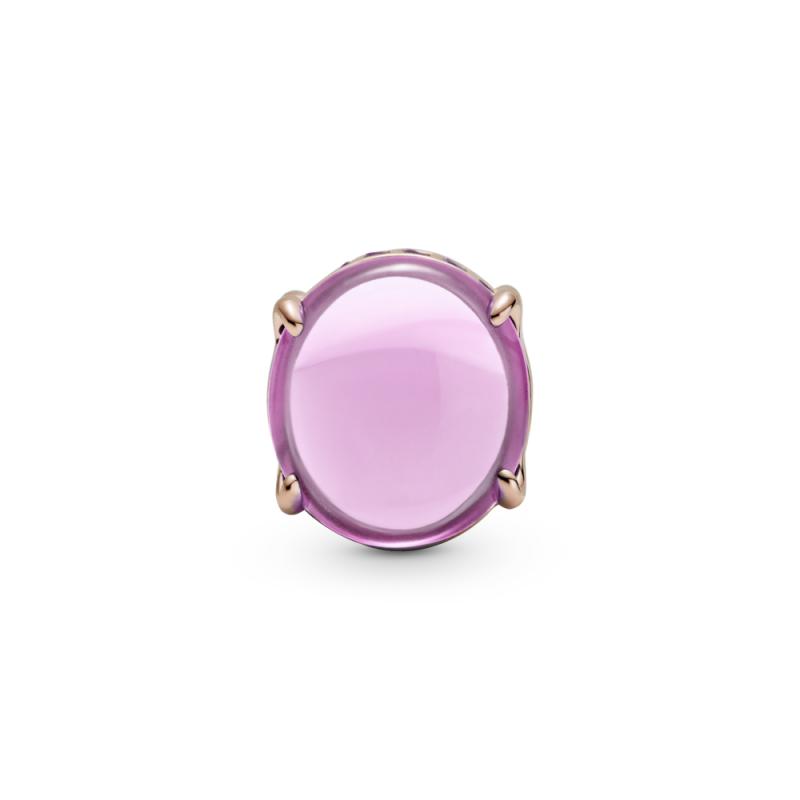 Obesek kabašon rožnate barve