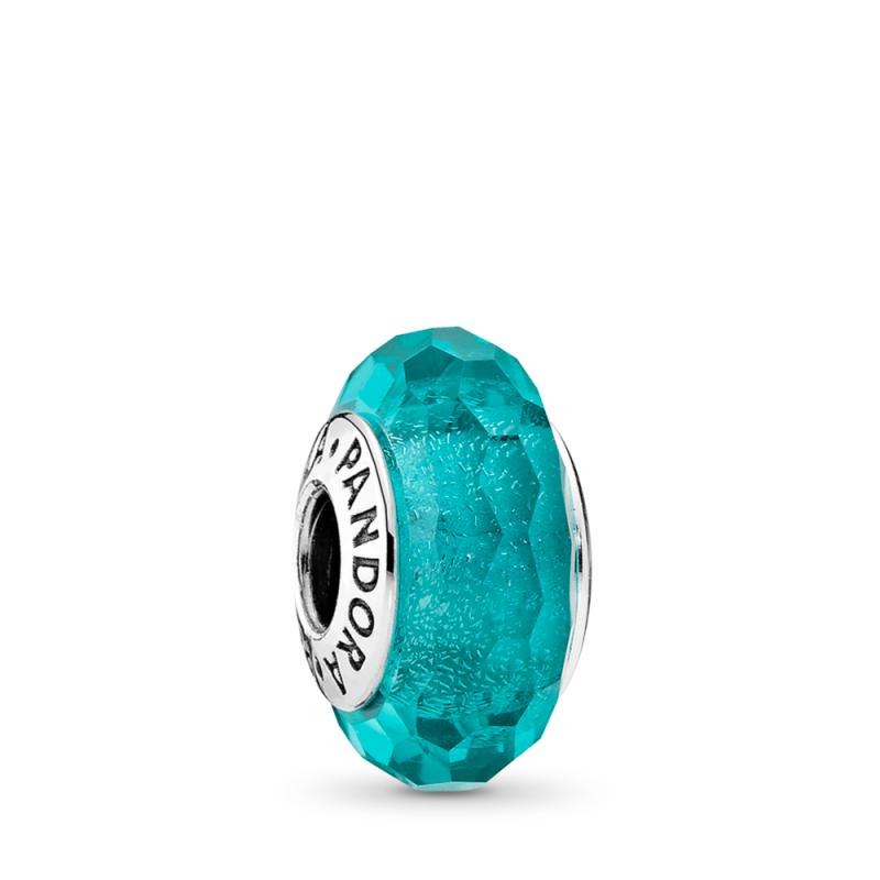Obesek Zeleno modro Murano steklo