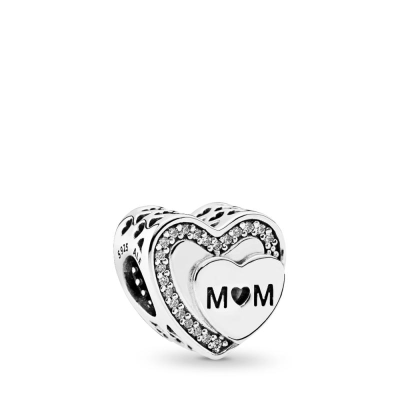 Srebrni obesek v obliki srca za mamo