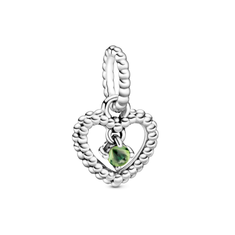 Viseči obesek srce s perlicami v svetlo zeleni barvi