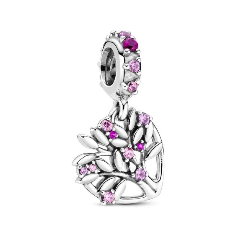 Obesek v obliki srca z družinskim drevesom v rožnati barvi