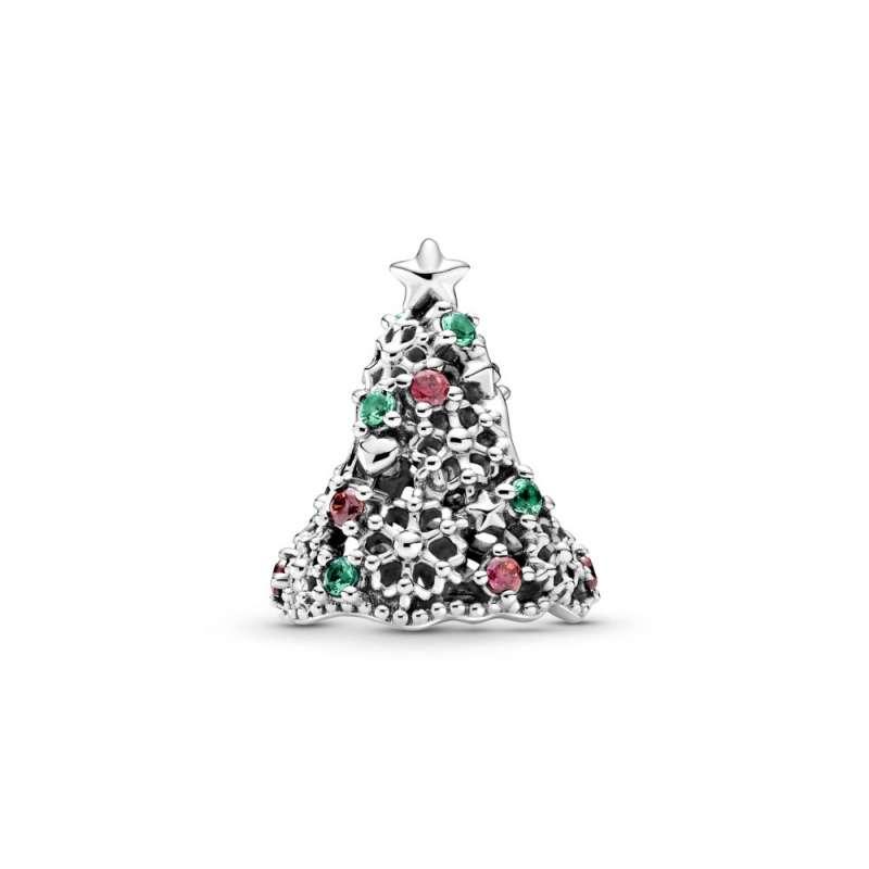 Obesek svetlikajoče okrašeno božično drevesce