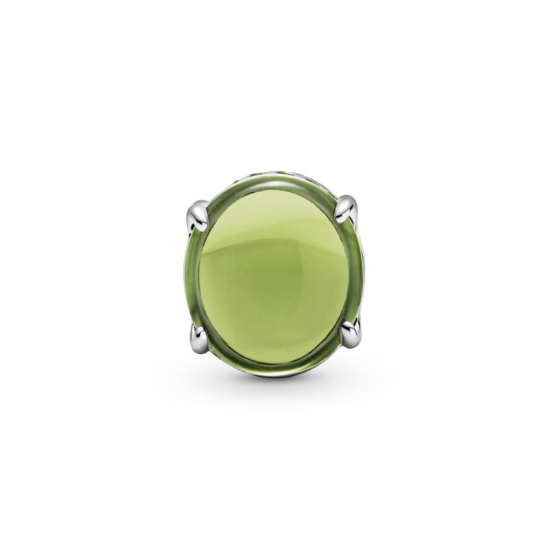 Obesek kabašon v zeleni barvi